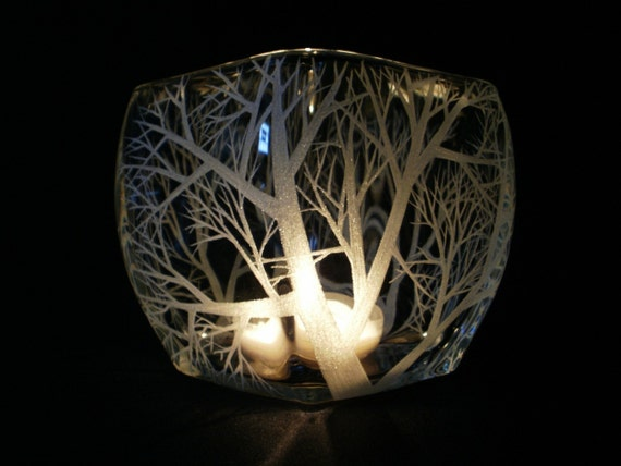 Reaching Branches . Glass Candle Holder Medium Tapered  Hand Engraved Indoor or Outdoor Luminary