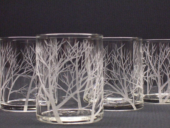 Four Glass Votive Holders, Hand Engraved . 'Reaching Branches'