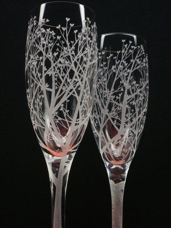 2 Champagne Flutes . Hand Engraved . 'Tree Of Love'