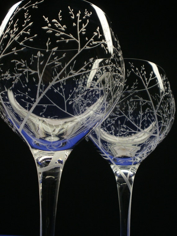 2 Red Wine Glasses . Hand Engraved Crystal Glass . 'Branches And Leaves' . Bridal party gift  Spring Glassware