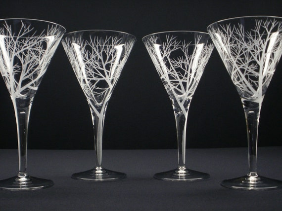Four Martini Glasses . Hand Engraved . 'Reaching Branches' Barware Cocktail Glasses