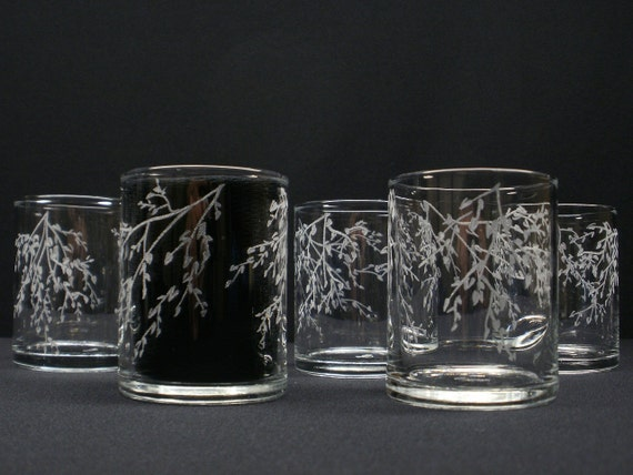 6 Hand Engraved Candle Holders . 'Branches and Leaves'