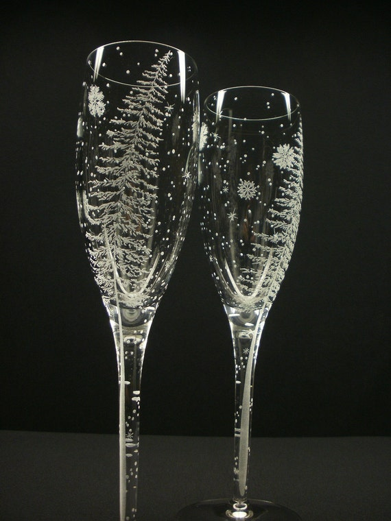Fir Tree And Floating Flakes . 2 Champagne Flutes . Hand Engraved . Winter Wedding