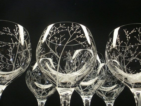 6 Red Wine Glasses . Hand Engraved Crystal Glass . 'Branches And Leaves' . Bridal party gift Spring Glassware