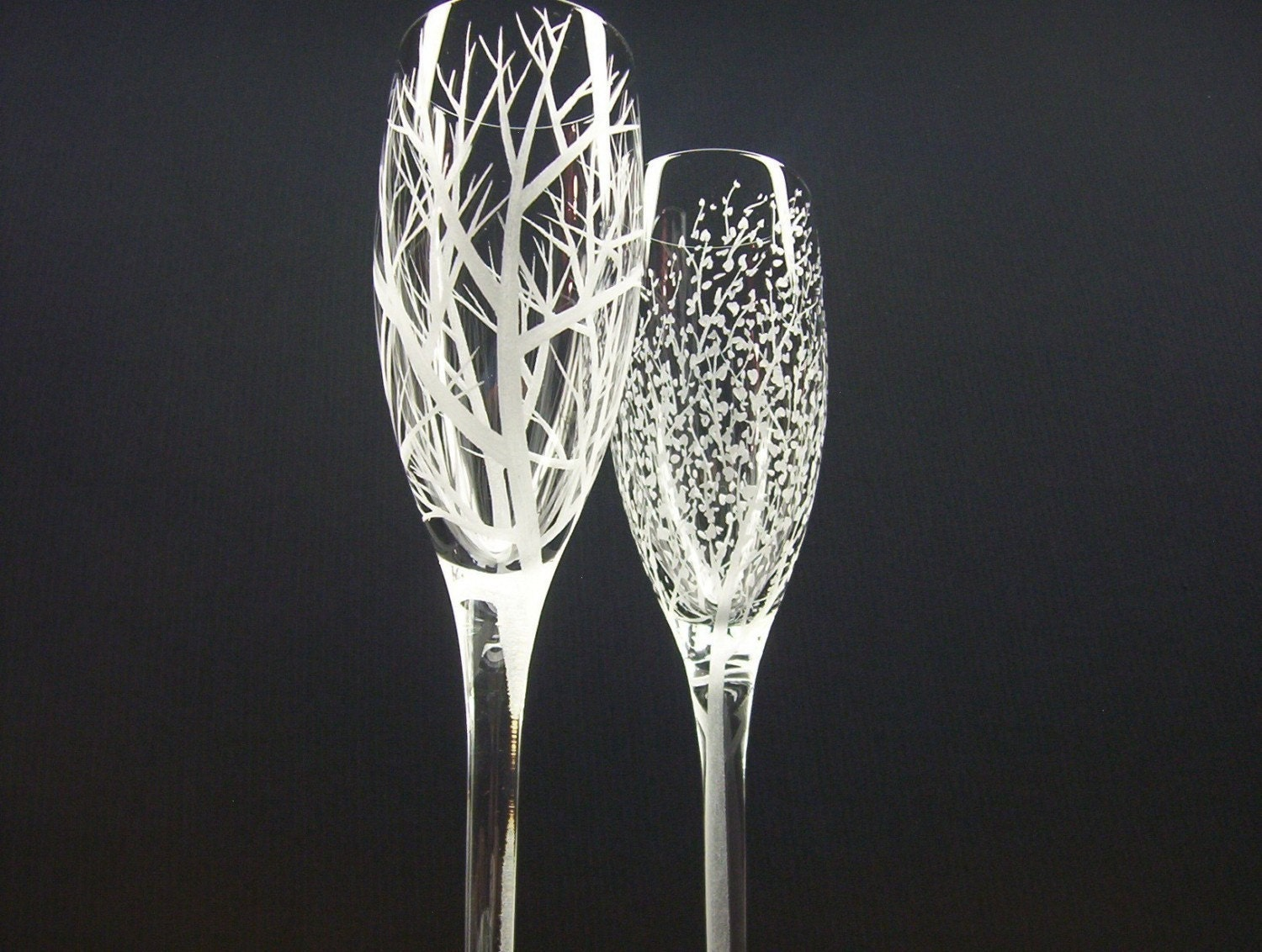 Two hand engraved champagne flutes 39 reaching - Unusual champagne flutes ...