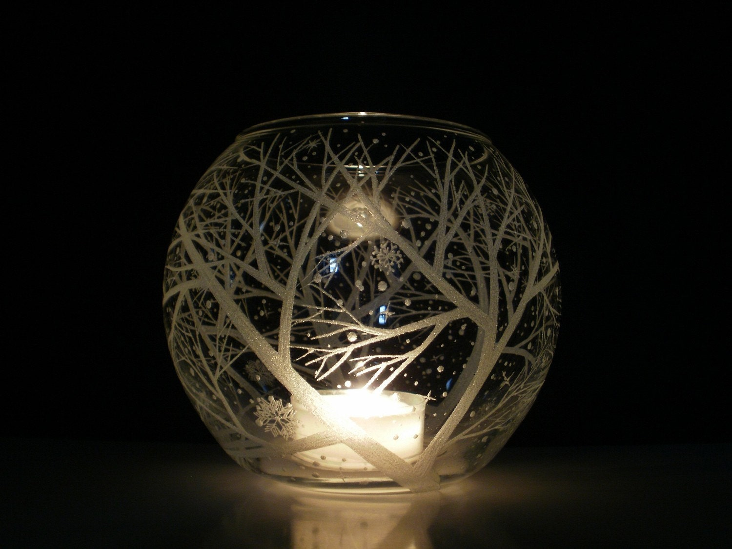 Glass Globe Candle Holder Reaching Branches And