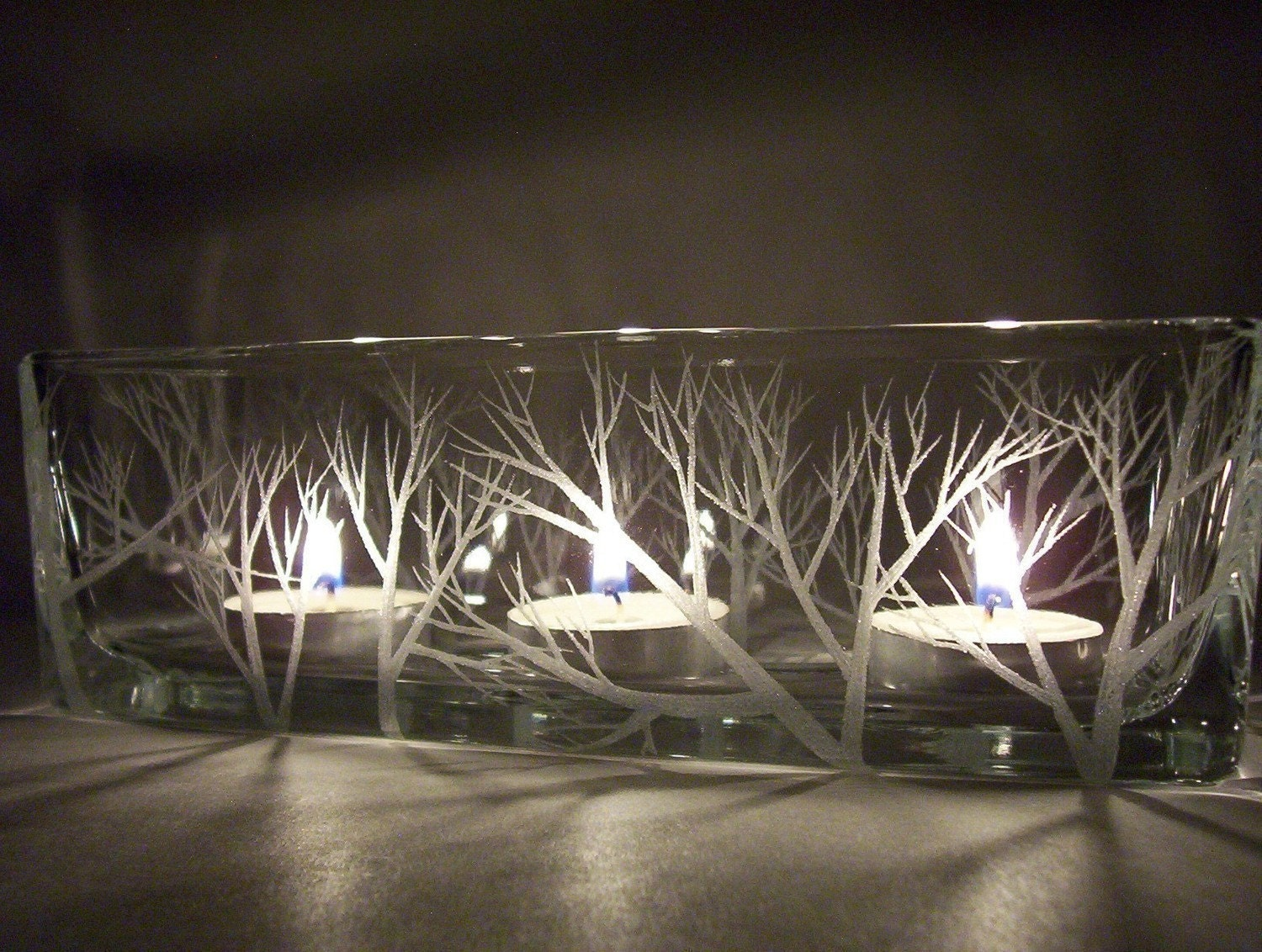 Glass rectangle candle holder 39 reaching by daydreemdesigns for Long rectangular candle tray