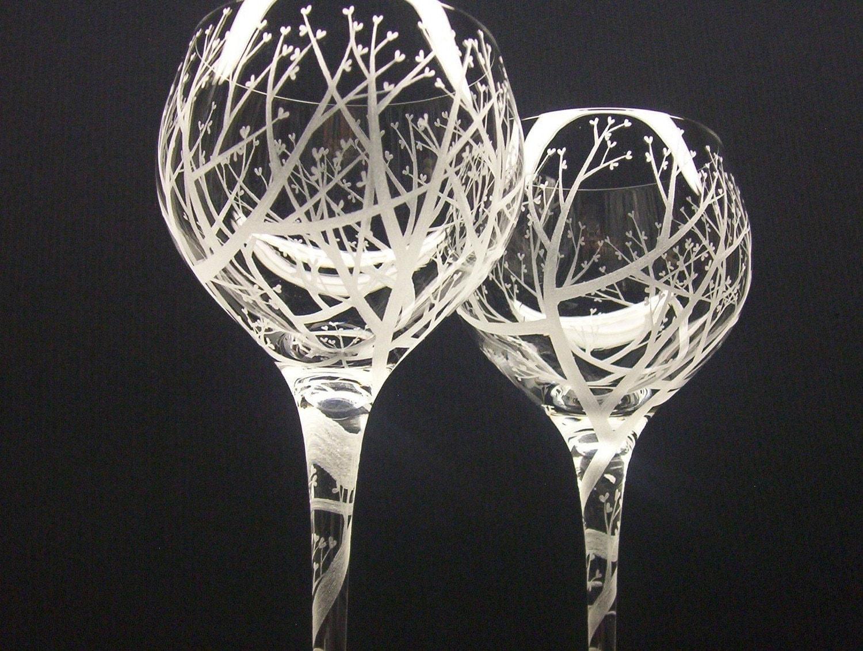 Tree Of Love Spiraled Stem 2 Red Wine Glasses by daydreemdesigns