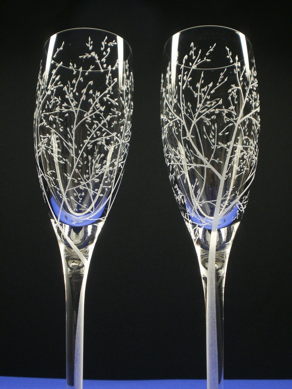 Autumn Wedding Flutes . Branches and Leaves . 2 Hand Engraved