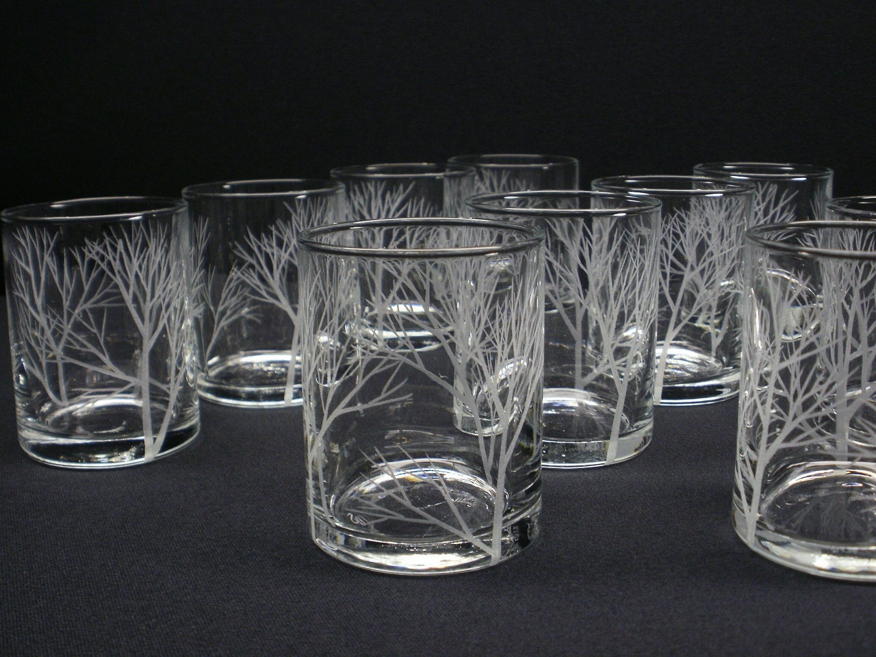 12 Votive Holders Hand Engraved Glass Candle Holders