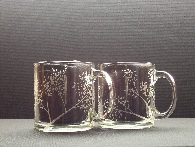 Sale 2 Hand Engraved Glass Coffee Mugs Sale