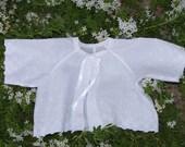 CUSTOM ORDER FOR CHRISTINA Baby's Eyelet Matinee Jacket