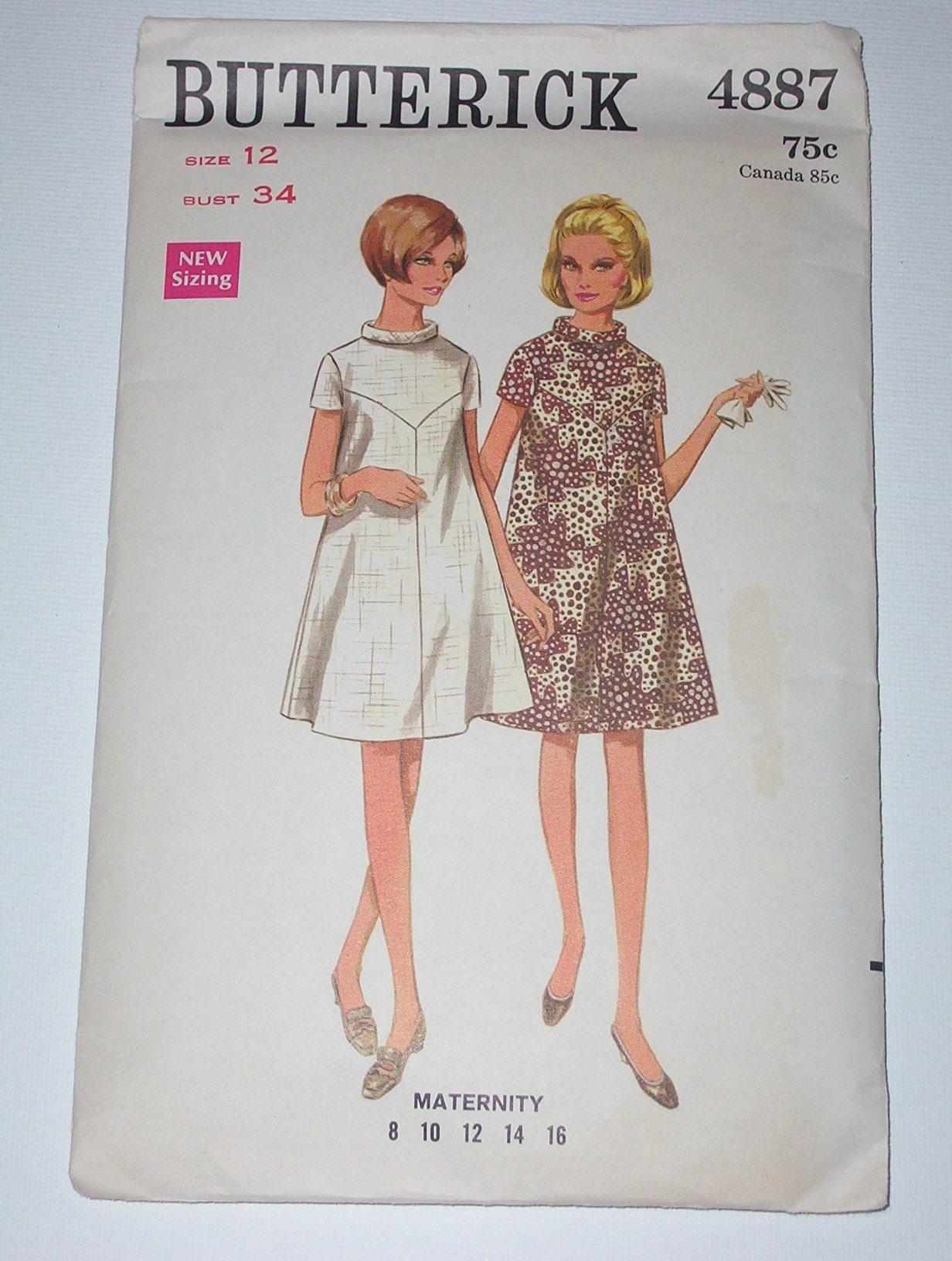 Vintage 60s maternity dress pattern size 12 b 34 zoom ombrellifo Gallery