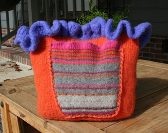 Ruffle Purse - Knit Purse - Felted Purse - OOAK Handmade Purse - Orange Purse - Knit Bag - Christmas Gift - Black Friday - Orange Purse