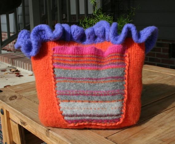 Ruffle Purse Knit Purse Felted Purse OOAK Handmade Purse
