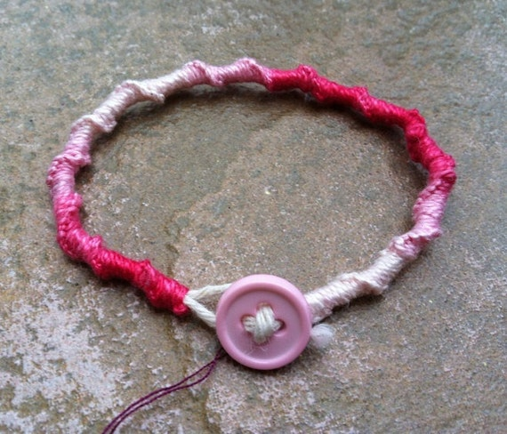Chinese Knot Friendship Bracelet: Strawberry Cheesecake Sz Small, Pink and White