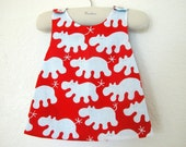 French Whimsical Red Reversible Pinafore Dress Top Les Hippopotames