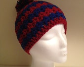 Adult Sized Wavy Beanie in Blue and Red