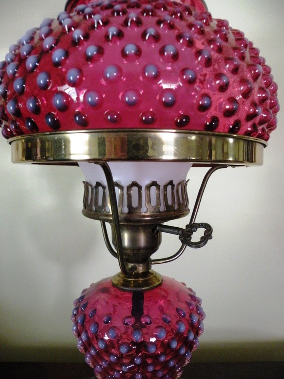 Antique Fenton Cranberry Opalescent Glass Lamp by antiquegrrl