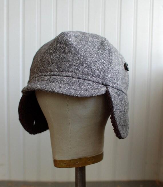 Wintery trucker hat with earflaps in black tweed: mens winter hat, womens winter hat - small
