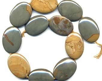 """Cripple Creek Jasper Beads 35mm x 25mm Flat Ovals 16"""" Strand"""