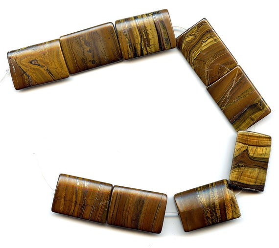Genuine Tiger Eye Beads 25x35mm Lg Rectangles 9 Pc Strand