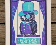 Limited Edition The Gentleman : a letterpress Owl in a top hat wearing a monocle