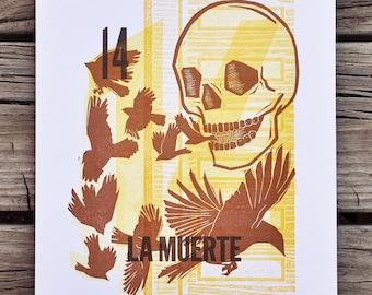 Limited Edition La Muerte : a letterpress linocut loteria print
