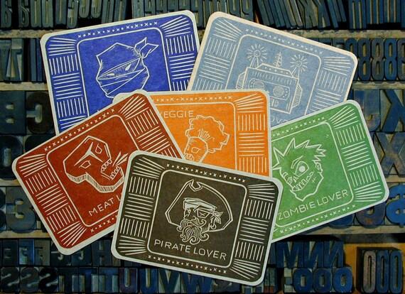 Lover Series letterpress postcard pack