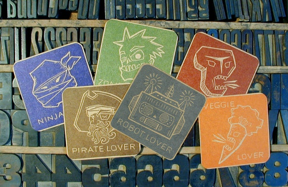 Lover Series Letterpress Sticker 6 Pack