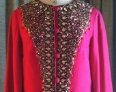 Reserved for Shanna/////Vintage 1960's Hot Pink Beaded Caftan Tunic Party or Wedding Dress from I Magnin size 4/6