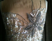 Sparkle Flower Vintage Remodeled Short Wedding gown Party Dress with beaded bodice size 6