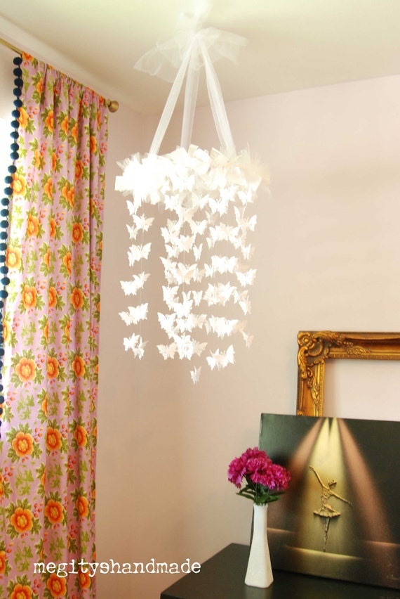 White butterfly chandelier diy kit mobile by megityshandmade - Diy chandelier kit ...