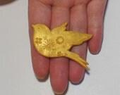 Gold Flower bird brooch pin badge