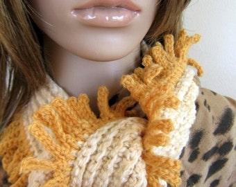 Hand crochet cream 5 ft long skinny scarf with gold fringe