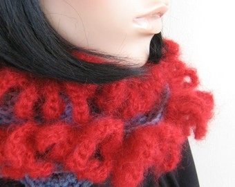 Skinny scarf, blue with red, long scarf, 5ft plus, hand crochet, cosy neck warmer, light and warm, bright, stylish, boho chic,