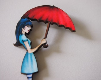 Red Umbrella Girl Laser Cut Wood Brooch