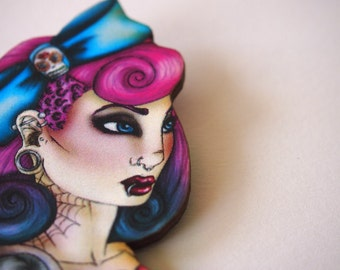 Dyed and Tattooed Girl Laser Cut Wood Brooch