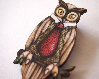 Owl in a Tie Laser Cut Wood Brooch