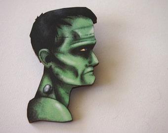 Monster of Frankenstein Laser Cut Wood Brooch