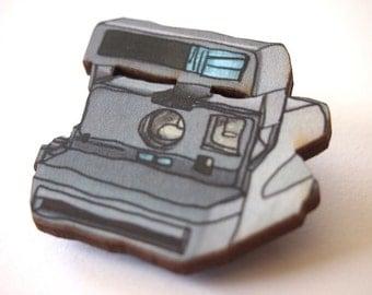 Retro Polaroid Camera Laser Cut Wood Brooch