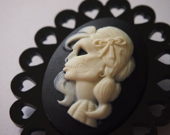 Day of the Dead Cameo on Black Heart Perspex Laser Cut Wood Brooch