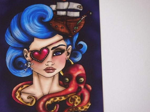 Pirate Girl and her Octopus Illustrated Postcard