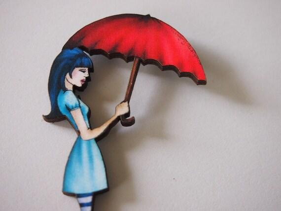 Red Umbrella Girl Laser Cut Wood Brooch