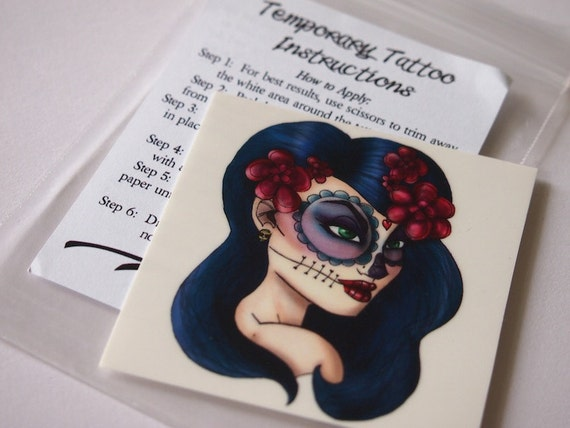 Day of the Dead Girl Illustrated Temporary Tattoo