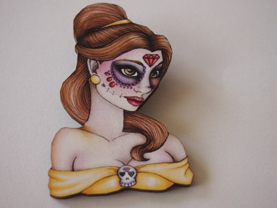 Day of the Dead Belle Laser Cut Wood Brooch