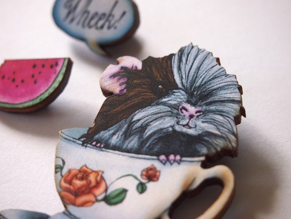Guinea Pig in a Cup with Wheek Speech Bubble and Watermelon Slice Laser Cut Wood Brooch - 3 Parts