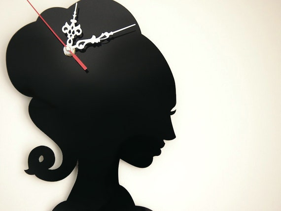 Black Perspex Girls Silhouette Wall Clock with Silver Hands