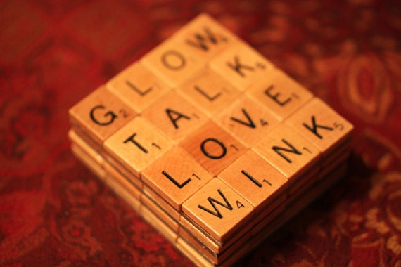 Scrabble Coasters With Recycled Wood Scrabble Tiles And Sturdy Backing Set Of Four  A GIRL THING