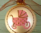 1 LEFT - SALE- 30% OFF- Personalize this handpainted Baby's First Christmas ornament
